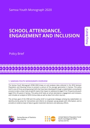Samoa Youth Monograph 2020 SCHOOL ATTENDANCE, ENGAGEMENT AND INCLUSION Policy Brief 2